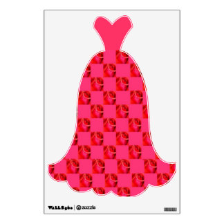 Pink Roses Party Dress Evening Gown Wall Decal