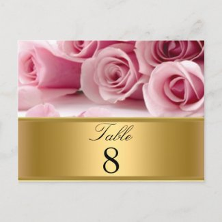 Pink Roses Party table Numbers postcard