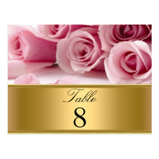 Pink Roses Party table Numbers Postcards