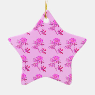 Pink Roses pattern Ceramic Ornament