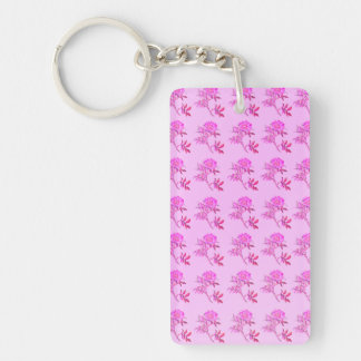 Pink Roses pattern Rectangular Acrylic Key Chains