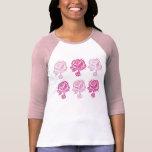 Pink Roses Pattern Ladies Raglan Shirt
