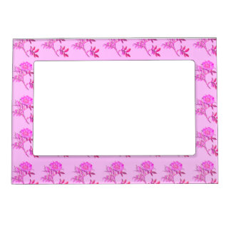 Pink Roses pattern Magnetic Photo Frame