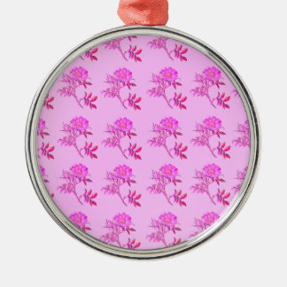 Pink Roses pattern Metal Ornament