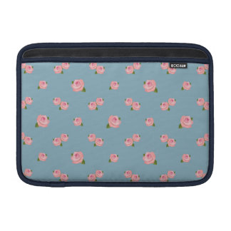 Pink Roses Pattern on Blue Sleeve For MacBook Air
