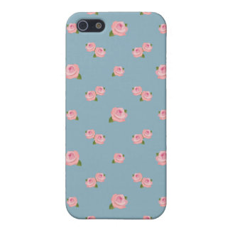 Pink Roses Pattern on Blue iPhone SE/5/5s Cover