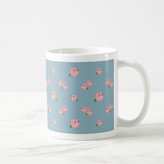 Pink Roses Pattern on Blue Coffee Mugs