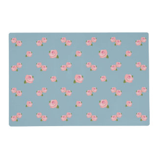 Pink Roses Pattern on Blue