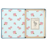 Pink Roses Pattern on Light Blue iPad Air Case