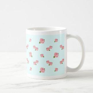 Pink Roses Pattern on Light Blue Coffee Mugs
