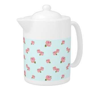 Pink Roses Pattern on Light Blue Teapot