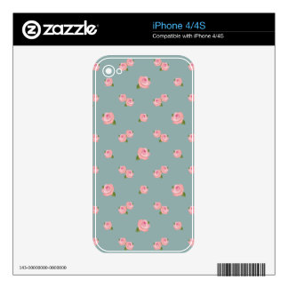 Pink Roses Pattern on Light Teal iPhone 4 Decals
