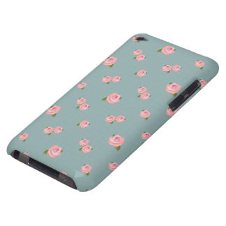 Pink Roses Pattern on Light teal iPod Touch Cover