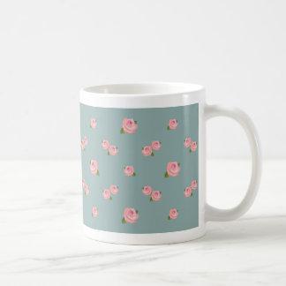 Pink Roses Pattern on Light Teal Mugs
