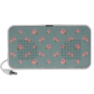 Pink Roses Pattern on Light Teal PC Speakers