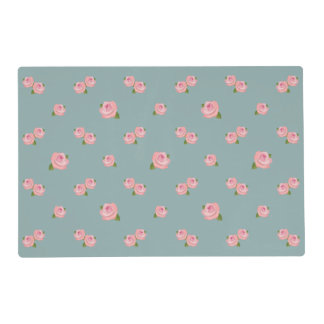 Pink Roses Pattern on Light Teal Placemat