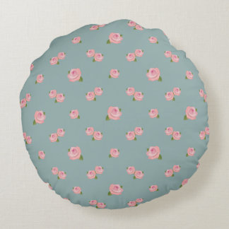 Pink Roses Pattern on Light Teal Round Pillow