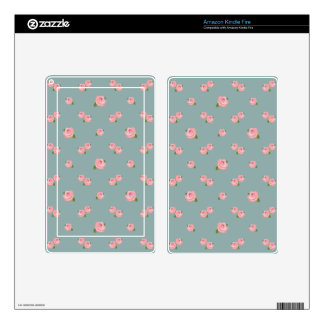 Pink Roses Pattern on Light Teal Kindle Fire Decals
