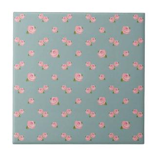 Pink Roses Pattern on Light Teal Tile