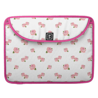 Pink Roses Pattern on White MacBook Pro Sleeve