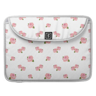 Pink Roses Pattern on White Sleeve For MacBooks