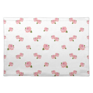 Pink Roses Pattern on White Placemats
