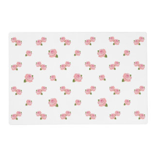Pink Roses Pattern on White Placemat