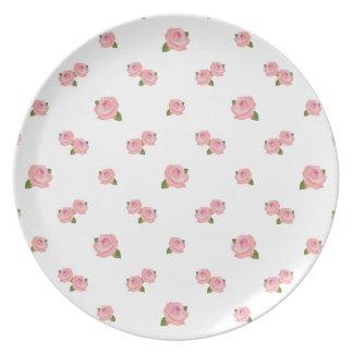 Pink Roses Pattern on White Dinner Plates