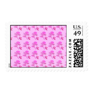 Pink Roses pattern Postage Stamps