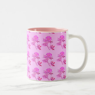 Pink Roses pattern Two-Tone Coffee Mug