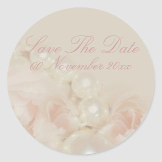 Pink roses pearls elegant wedding engagement classic round sticker