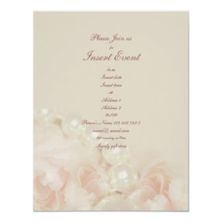 Pink roses pearls elegant wedding engagement personalized invitation