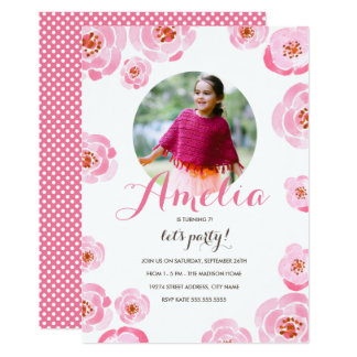 Pink Roses Photo Birthday Invite