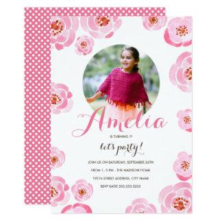 Pink Roses Photo Birthday Invite