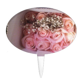 Pink Roses Photo Cake Topper