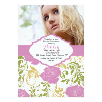 Pink Roses Photo Invitation