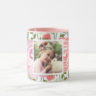 Pink roses photo mug