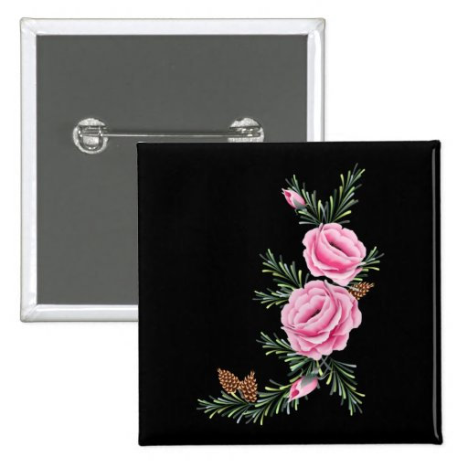 PINK ROSES & PINE by SHARON SHARPE 2 Inch Square Button