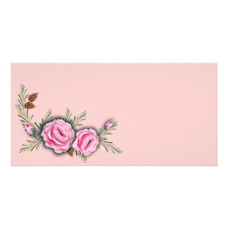 PINK ROSES & PINE by SHARON SHARPE Card