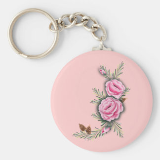 PINK ROSES & PINE by SHARON SHARPE Keychain