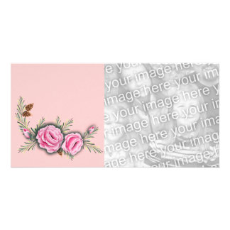 PINK ROSES & PINE by SHARON SHARPE Photo Card