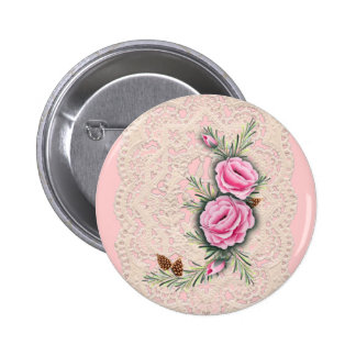 PINK ROSES & PINE by SHARON SHARPE Pinback Button