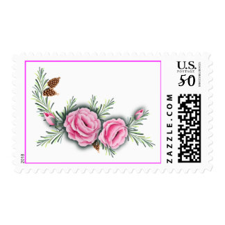 PINK ROSES & PINE by SHARON SHARPE Postage