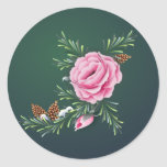 PINK ROSES & PINE by SHARON SHARPE Classic Round Sticker