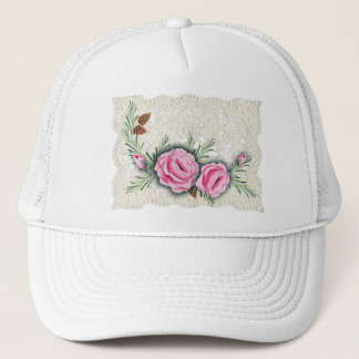 PINK ROSES & PINE by SHARON SHARPE Trucker Hat