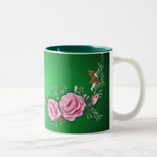 PINK ROSES & PINE by SHARON SHARPE Two-Tone Coffee Mug