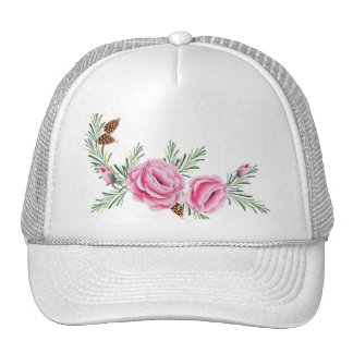 PINK ROSES & PINE CONES by SHARON SHARPE Trucker Hat
