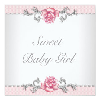 Pink Roses Pink Baby Girl Shower Card