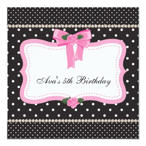 Pink Roses Pink Black Girls 5th Birthday Party 5.25x5.25 Square Paper Invitation Card