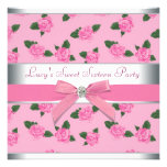 Pink Roses Pink Sweet 16 Birthday Party Personalized Invitations